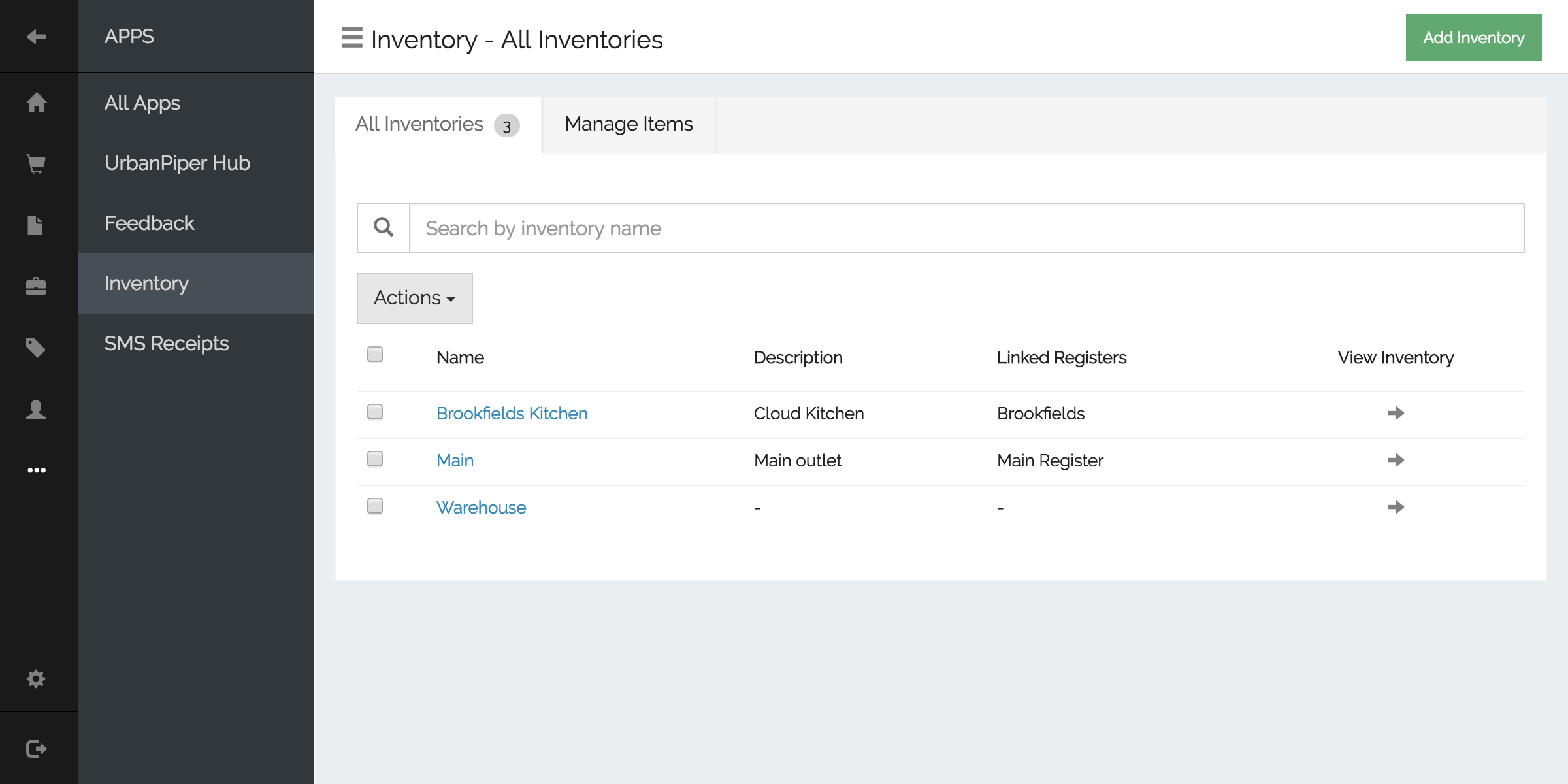 Manage multiple inventory locations