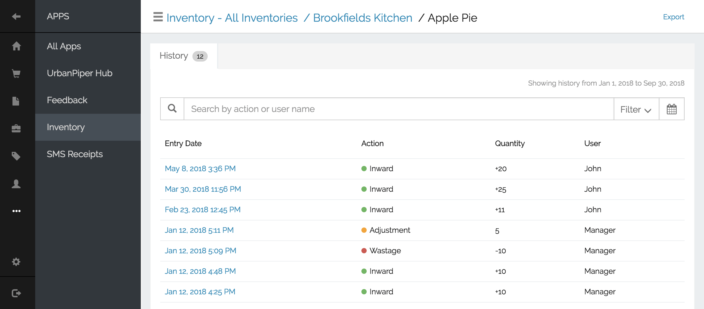 Inventory history tracking