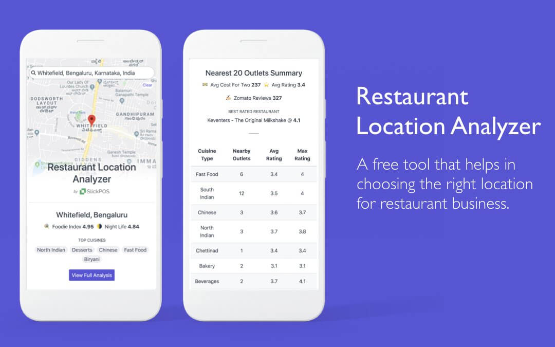 A free tool that helps in choosing the right location for restaurant business.